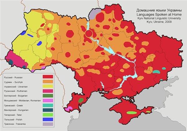 карта распределения языков внутрисемейного общения в Украине